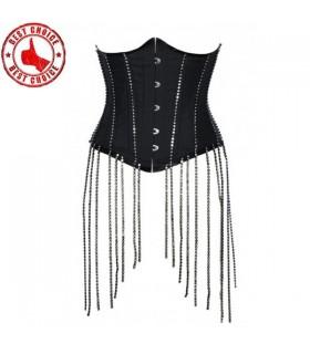 Supersexy corset sous la poitrine avec des chaînes de cristaux