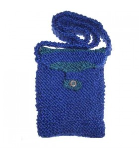 Green and dark blue double wool bag