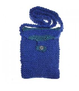Grün blaue Handtasche aus Wolle