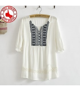 Mediterranean crochet embroidered loose shirt
