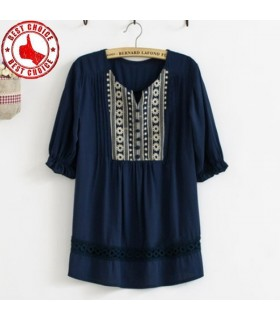 Mediterranean crochet embroidered loose chic shirt