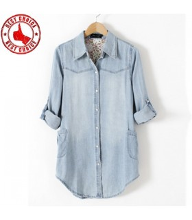 Chemise jeans manches longues