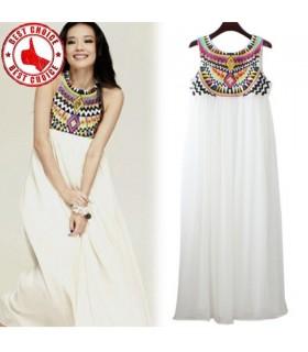 Lässige weiße bestickte Pailletten Kleid