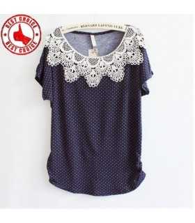 Lace flower blue doted top