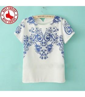 Mediterranean white blue print chiffon top