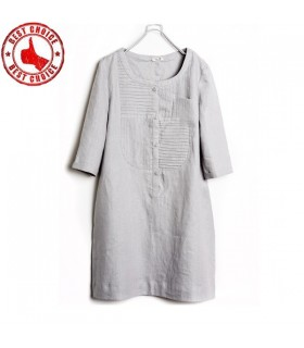 Three quarter sleeve pure linen cotton dress