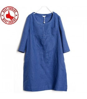 Three quarter sleeve pure linen dress