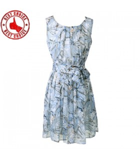 Blue flower print chiffon pleated dress