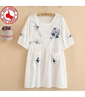 Embroidery vintage linen blouse dress