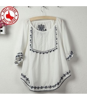 Ethnique mexicaine broderie fleur coton t-shirt