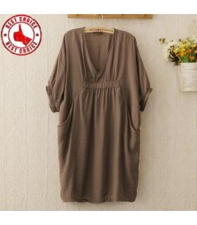 Lösen Plissee V-Ausschnitt Kurzarm Kleid