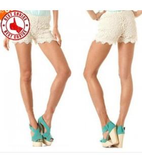 Sexy Häkeln weißen Spitzen-Shorts