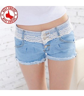 Denim with lace bordered shorts