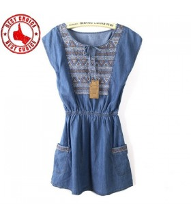 Robe en denim casual broderie