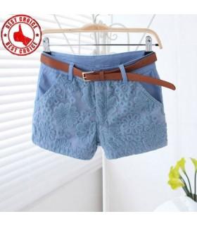 Blauer Schnürsenkel Mitte Taille Kurze Hosen