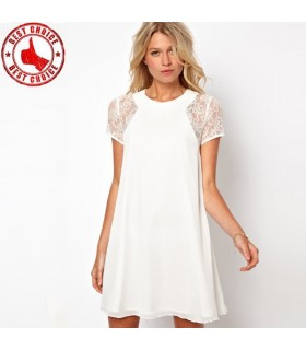 Chiffon lace short sleeve white sexy dress