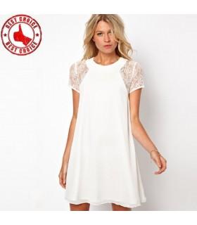 Mousseline dentelle manchon court blanc robe sexy