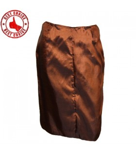 Tafetta chocolate slim pencil skirt