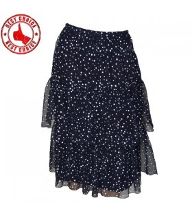 Dark blue doted 3 layers skirt