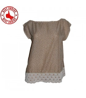 Linen cotton lace top