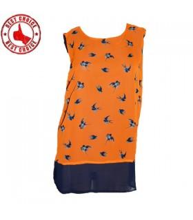 Stampa uccello arancione top colorato