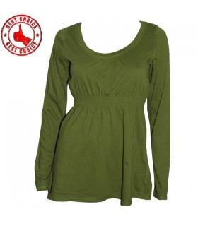 Green elastic waist cotton blouse