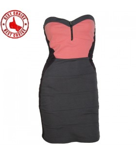 Bandage coral front zipper dress