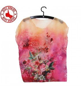 Antiwrinkle chiffon printed see through top