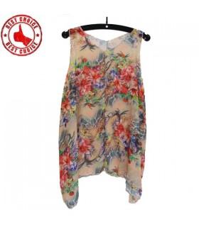 Modern cut exotic flower print top