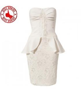 Weiße Spitzen verziert Schößchen Kleid