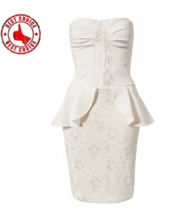 White lace embellished peplum dress