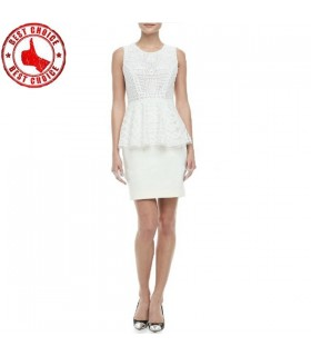 Lace flounced slim waist white dress