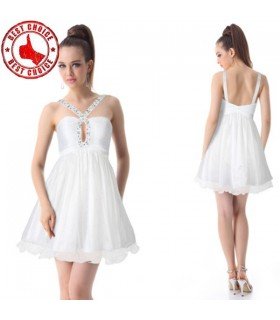 Pretty rhinestones padded ruffles dress