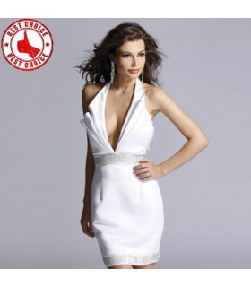 Halter crystals white ruffled sequins dress