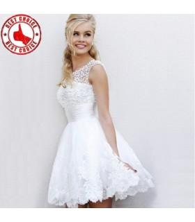 Edle perlende Perle weißes Schnürsenkel Kleid