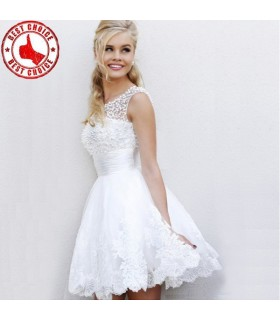Noble beading pearl white lace dress