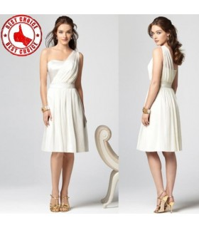 Sheath one shoulder white dress