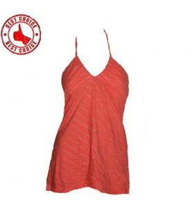Coral jersey silver line top