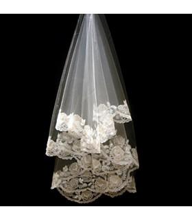 Mariage voile dentelle coton