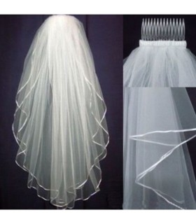 White tulle simple wedding veil