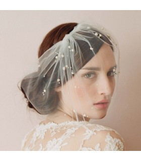 Short chic birdcage veil wedding dress