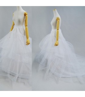 Three layers crinoline skirt wedding dress