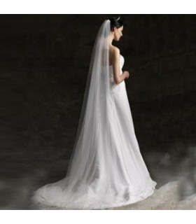 Long veil train wedding dress