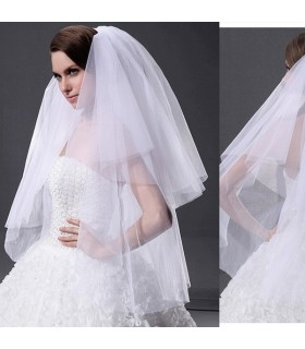 White elbow length double layer wedding veil