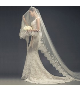 Romantic long embellished wedding veil