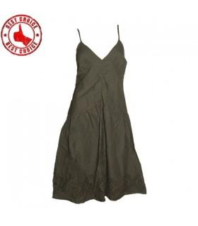 Armee grün Baumwolle Kleid Stickerei