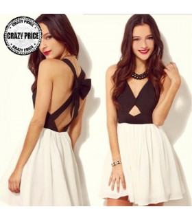 Black white criss cross back hollow out dress