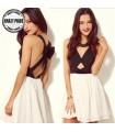 Black white criss cross back hollow out dress