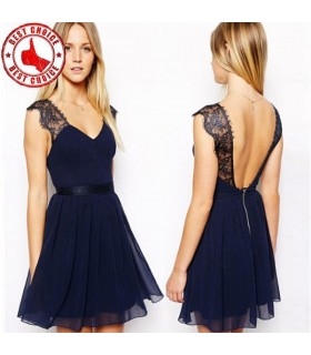 Sexy lace navy blue dress