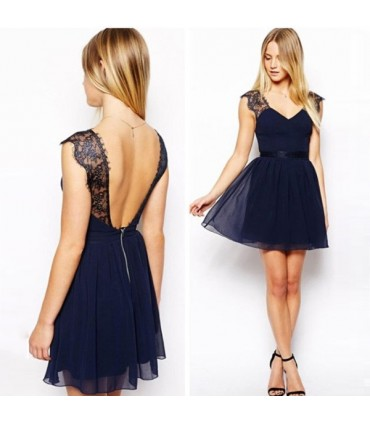 d42fe80abf2d Abito sexy pizzo blu navy Size M